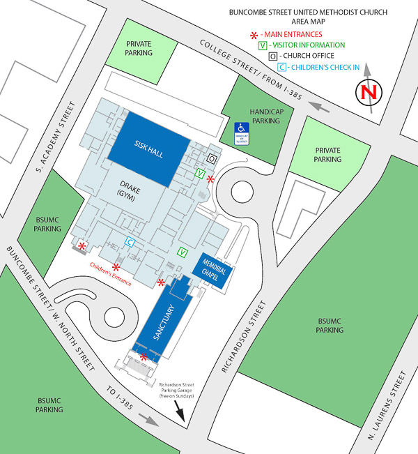Umc Campus Map.Parking Directions Buncombe Street United Methodist Church